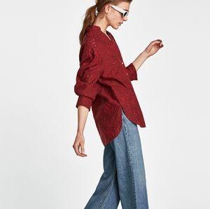 Zara Eyelet Embroidered Tunic Top